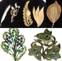 Vintage Leaf Flower Brooch Glitter Green Purple Rhinestones Gold Tone Lot of 7
