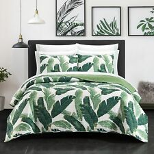 Palm Spring 9 Or 6 Piece Quilt Set Watercolor Floral Pattern Print Bed In A Bag