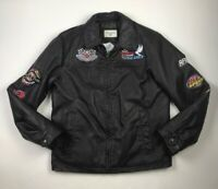 Embroidered Vintage 90s 00s Leather Jacket Black Lined Patches Mens S Faux