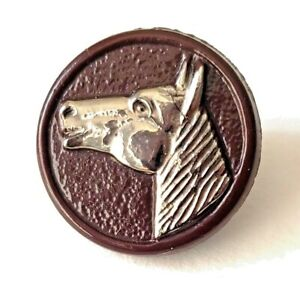 """Neat Silver Luster Horse Head on Brown Glass ...Vintage Button…11/16"""""""