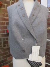 ANNA MOLINARI 100% cashmere BLUMARINE grey WAISTCOAT silk back UK14 £450 bnwt