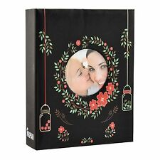 "NERO Floreale 6x4"" PHOTO ALBUM scivolare in caso per 200 foto con finestra"