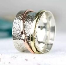 Solid 925 Sterling Silver Spinner Ring  Meditation Statement Jewelry ade9123