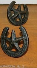 Set/4 Pulls Western Star Lucky Horseshoe Cast Iron Cabinet Knob Drawer Texas