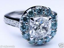 Certified Cushion Diamond Engagement Ring Blue Diamonds Halo in 14K White Gold
