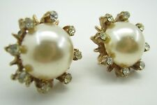 Vintage SCREWBACK EARRINGS Gold Tone FAUX PEARL & RHINESTONES Button Studs WHITE