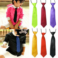 EG_ SCHOOL BOYS KIDS BABY WEDDING BANQUET SOLID COLOUR ELASTIC TIE NECKTIE MODER