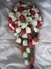 """Extra large red & ivory rose wedding flower teardrop bouquet diamante's 22 """"long"""