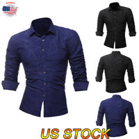 Fashion Men T-Shirt Casual Long Sleeve Shirts Formal Slim Fit Shirt Tops Blouse