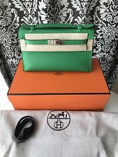 NEW IN BOX HERMES BAMBOO GREEN SWIFT KELLY POCHETTE MINI CLUTCH BAG 1K