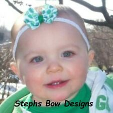 Shamrocks Dainty hair bow Headband Preemie Newborn Toddler St Patricks day