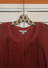1X/XL New Cinnamon Crocheted Lace TUNIC BOHO PEASANT TOP Blouse 14/16 Henna
