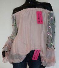 Damenblusen, - tops & -shirts mit Carmen-Ausschnitt aus Seide 36 Größe
