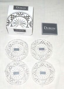 """Godinger Shannon Dublin Collection Four 4"""" Glass Coasters NEW in Box"""