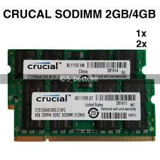 Crucia 2gb/4gb/8gb ddr2/ddr3 800/1333mhz 200/204pin Laptop SODIMM Memory RAM is Lot