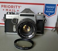 Sears TLS 35mm SLR Film Camera With 50mm F1.7 Lens and Strobe Flash, UV Filter