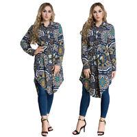 Muslim Women Ladies T-Shirt Dress Blouse Oversized Printed Kaftan Islamic Tops