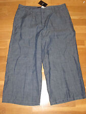 next  blue linen blend culottes size 12 eur 40 leg 22 brand new with tags