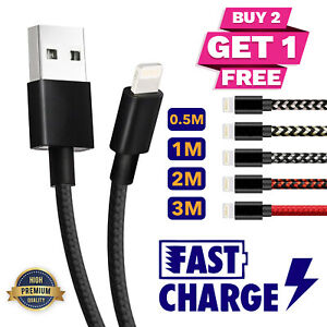 Long USB Cable Lead Quick Charger Data Charging For iPhone 6s 7 8 6 5s X Braided