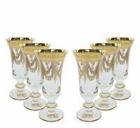 """Interglass Italy """"Champagne"""" 6-pc Crystal Glasses, Vintage Design, 24K Gold"""