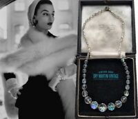 VINTAGE 1950s AURORA BOREALIS CLEAR CRYSTAL BEADS NECKLACE SINGLE STRAND CLASSIC