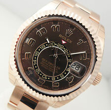 Rolex Sky Dweller 326935 18k Everose Gold Chocolate Sunray Arabic Dial 42mm