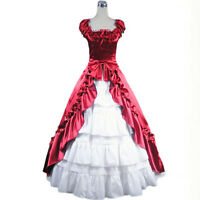 Victorian Gothic Stain Sleeveless Layered Lolita Cosplay Gown Ball Prom Dress