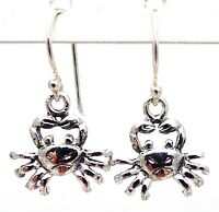 "925 SOLID Sterling Silver Crab Dangle Earrings 0.91"" Cancer Zodiac Crabs Claws"