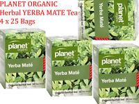 4 x 25 bags PLANET ORGANIC Organic Herbal YERBA MATE Tea ( 100 bags)