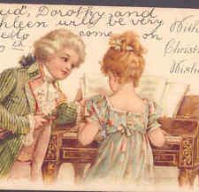 SCARCE BRUNDAGE..! COLONIAL ERA MUSIC ROMANCE,HARPSICHORD,VIOLIN CHROMO POSTCARD
