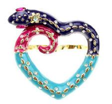 R105 Betsey Johnson Fortune Heart Snake Make Wish Dual Finger Ring US