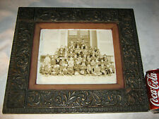 ANTIQUE COUNTRY SCHOOL BOY GIRL FOLK ART ORPHANAGE WOOD PICTURE PHOTO ART FRAME