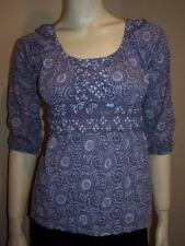 C KEER Anthropologie Lavender Ruffle Ruched Print Tunic Top Shirt Size Small