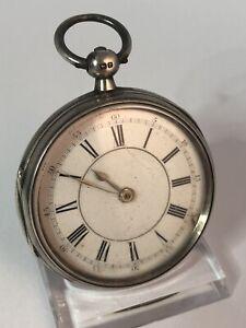 Englische Taschenuhr Silber massiv 55mm defekt