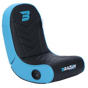 BraZen Floor Rocker Gaming Chair - Speaker - Stingray 2.0 Surround Sound  - Blue