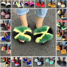 Women's Fluffy Real Fox/Raccoon Fur Sandal Slides Slippers Indoor Flat  Shoes