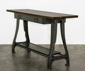"""62"""" L Console table solid hardwood top heavy black iron base one drawer unique"""