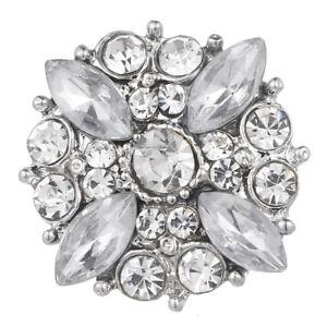 10pcs Charm Crystal Flower 18mm Snap Button For Noosa Necklace/Bracelet N901