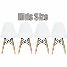 4 KIDS Eames Style Side Chairs with Accent Seats & Natural Wood Leg - White