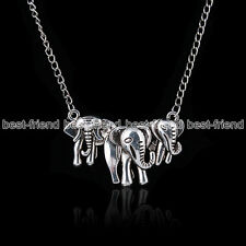 Fashion Jewellery Retro Boho Tibetan Silver Elephant Pendant Chain Necklace Gift