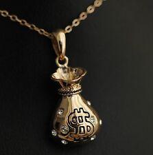 Brand New 18k Gold Filled Solid Swarovski Crystal Money Bag Pendant Necklace