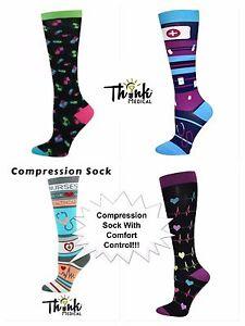 New Women's 10-14 mmHG Compression Socks-4 New NURSE Designs/Comfort