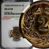 SWITZERLAND Bronze 1936 B 2 Rappen NGC MS63 RB RED Mintage-500,000 KM# 4.2a (180
