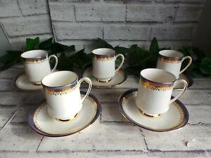 ROYAL ALBERT PARAGON SANDRINGHAM BLUE TRIM COFFEE CUPS & SAUCERS