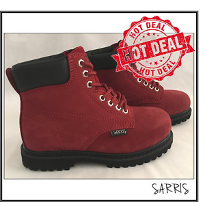 LADIES RED LACE UP STEEL TOE CAP WORK BOOTS