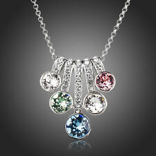 Sparkly Shiny Multi Coloured Made With Swarovski Crystal Chain Necklace Pendant