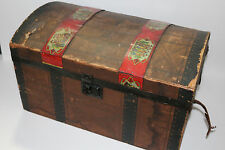 """Antique doll chest clothes/toy w/ metal tin litho Made in U.S.A. 16"""" x 9"""" x 9.5"""""""