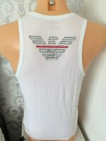 EMPORIO ARMANI Large Logo White Tank Top Sizes S,M,L,XL BNIB WITH TAGS