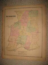 ANTIQUE 1870 RICHMOND WASHINGTON COUNTY RHODE ISLAND HANDCOLOR MAP WYOMING MILLS