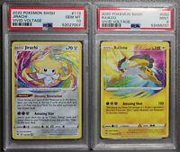 PSA 10 9 Pokemon Vivid Voltage Amazing Rare JIRACHI 119 & RAIKOU 050/185 ENGLISH